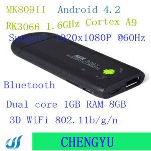 MK809 II de Androïde MiniDoos van TV van Bluetooth Mk809II van de RAM van de Kern van de Schors 1.6GHz van Rockchip Rk3066 van de Dongle van TV van PC 4.2.2 A9 Dubbele 1GB 8GB 3D