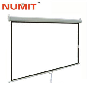 Потяните вниз введите ручной проекционный экран на стене