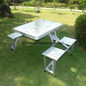 Comercio al por mayor en el exterior de aluminio plegable mesa de picnic conectada con sillas