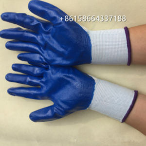 En388高品質の青いニトリルは安全作業手袋に塗った