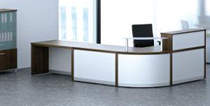 Moderner Werksgesundheitswesen-gebogener oberster kleiner Empfang-Glasschreibtisch (SZ-RT038)
