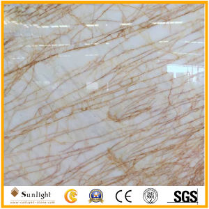 自然な大理石の石造りの金くものベージュ大理石の平板