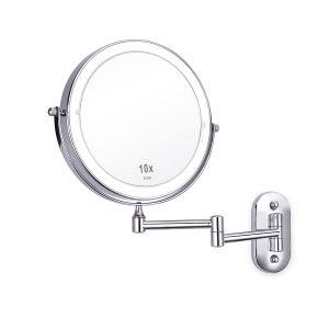 """Hotel Casa de Banho 8"""" operado a bateria montado na parede do Braço Duplo Espelho vaidade espelho de maquilhagem iluminado 10X"""