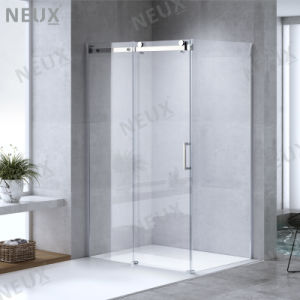 European Design puerta corrediza de vidrio ducha gabinete con grandes rodillos de latón (L5801A)
