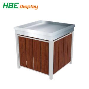 Tabela de promoção dobrável de madeira de metal com pés ajustáveis