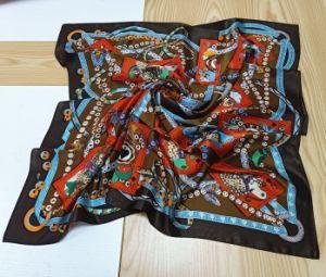 Venda por grosso de Design Personalizado Senhoras Square lenço de cetim de seda