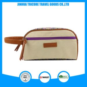Bolsa de cosméticos de tela lavables con cremallera para la belleza de la bolsa de maquillaje