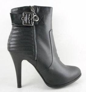 2015 Fashion femmes chaussures Lady cheville de boot avec motif hachuré Boucle de ceinture de fermeture à glissière Talon Haut