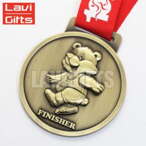 カスタム亜鉛合金の円形浮彫りの金属、赤いリボンが付いているメダル