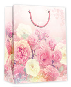 꽃 디자인은 로고에 의하여 인쇄된 선물 주문 종이 봉지를 주문을 받아서 만든다