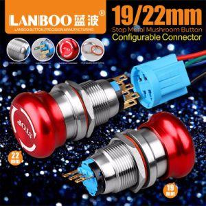 ステンレス鋼が付いているLanboo 22mmの金属の非常停止スイッチ