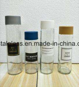 Zylinder-Form-Getränkeglaswasser-Flasche mit Farben-Schutzkappe