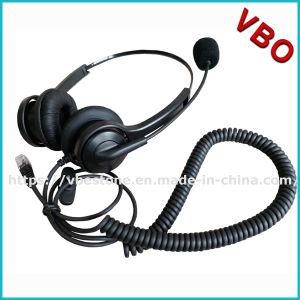 Rj 11のコネクターが付いている専門の両耳のコールセンターのヘッドセット