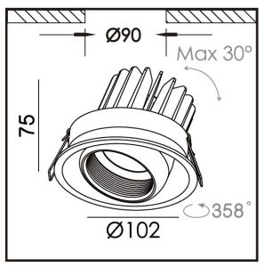 Regelbare leiden van de LEIDENE 6W 10W 15W anti-Schittert Reflector onderaan Lichte R6924