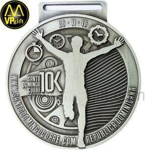 Le métal argent antique 3D 3K Course Marathon Médaille des Sports