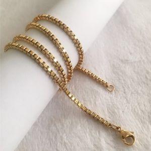Acero inoxidable al por mayor Caja de plata chapada en oro Pulsera Collar de cadena Bisutería
