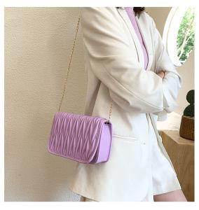 La moda plisada pequeña Plaza de la bolsa de nuevo el verano de 2020 en el bolso para las mujeres es muy popular entre las mujeres con cadena y bolsa Cross-Body Single-Shoulder