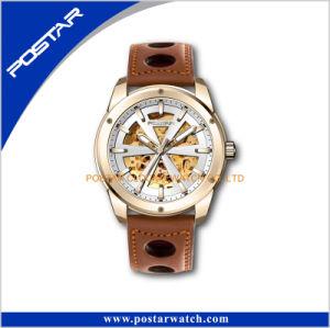Orologio speciale automatico di vetro delle cinghie di cuoio di Miyota dello zaffiro