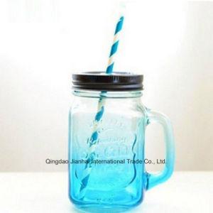 Jarra potável coloridos garrafa de vidro com tampa e pega