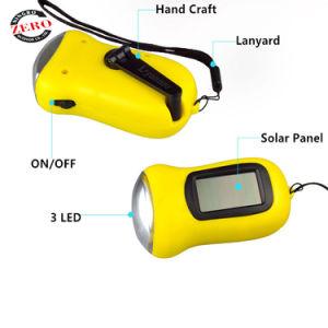 옥외를 위한 수동 크랜크를 가진 플라스틱 작은 다이너모 태양 에너지 재충전용 LED 플래쉬 등