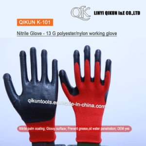 K-101 13 medidores de algodão de nylon de poliéster revestida de nitrilo proteger o trabalho de segurança luvas industriais de látex de trabalho