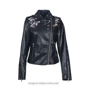 Senhoras' PU bordados jaqueta com zíper de metal