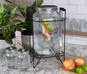 Distributeur de boisson en verre de 2 gallons avec socle et pivot en acier inoxydable et de fruits Infuser distributeur de boissons Distributeur de boisson pour les Parties à boire.