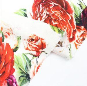 65% viscose 19% lin 16 % d'impression numérique de rayonne/tissu imprimé de robe tee-shirt de la jupe