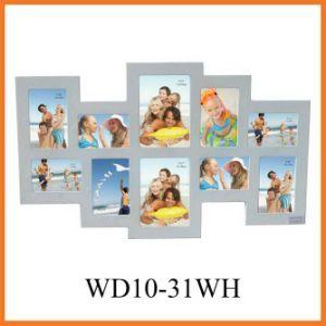 белый деревянный комплект рамки фотоего стены 10-Opening вися, домашние искусствоа стены декора (WD10-31WH)