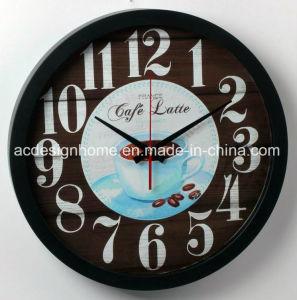 Orologio di parete di plastica nero per la decorazione della casa della caffetteria con il disegno alla moda unico