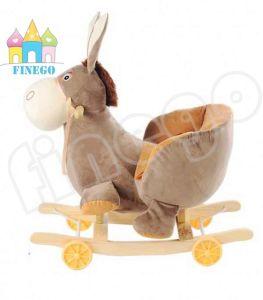 Brinquedo de burro com brinquedo de felpa com pés de contraste e base de madeira
