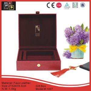 赤いのどの革物質的なハンドメイドの急なギフト用の箱(1007R1)