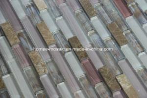 Mélange de verre linéaire mosaïque de pierre pour la cuisine dosseret