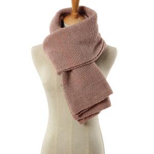 Mulher de fibra de Prata Moda lenço de Inverno de malha de acrílico (YKY4643)
