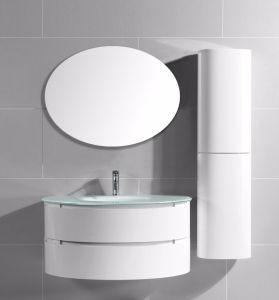 Тщета ванной комнаты PVC картины полуокружности с шкафом Cruved бортовым