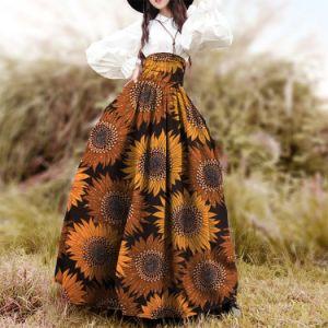 Cera High-Waisted mais recente de África Imprimir Resumo Pintura Floral saia longa