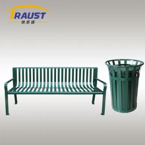 一連の販売のための円形上の入り口の金属のごみ箱そして公園のベンチ