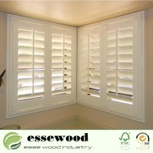 Verstärkter Vinyl eingewickelter weißer Belüftung-oder Holz-Fenster-Plantage-Blendenverschluß für Haupteckfenster