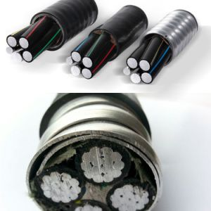 Les spécifications IEC 0.6/1kv, conducteur de cuivre ou aluminium Le câble 4 conducteurs, isolation en polyéthylène réticulé, ruban en acier gainé PVC Fil d'alimentation électrique du câble blindé