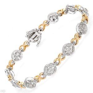 braccialetto dell'oro di tono 14K due con il diamante (LBRG1043)