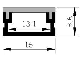滑走路端燈のための16*8.6mm表面の防水LEDのアルミニウムプロフィール
