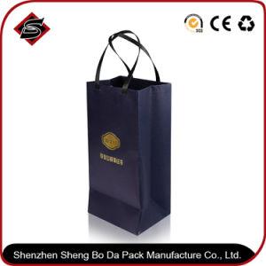 El logo impreso personalizado de lujo en papel negro Bolsa de compras/bolsa de papel