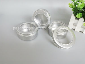 100 g de aluminio cosmética frasco con tapa de rosca de la ventana aluminio Jarra (PPC-ATC-060)