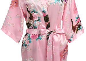 Les femmes de l'impression Peacock Kimono Robe en soie à manches courtes robe de mariée