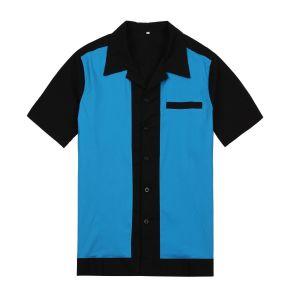 2017Diseño Venta caliente 60s Collar Turn-Down ropa casual camisas de Bowling