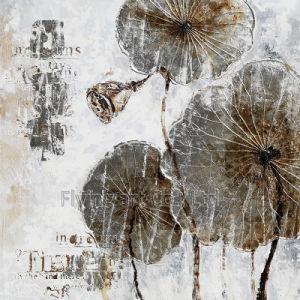 Retro Arte Artesanato pintura a óleo para flor de lótus