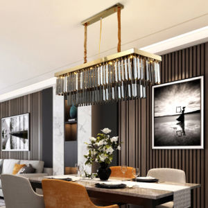 Nouveau design Rectangle Golden lustre en cristal de la télécommande pour la salle à manger