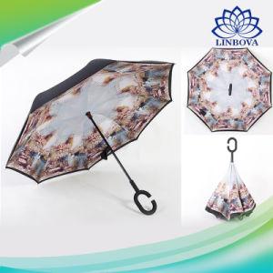 自動折りたたみはCのハンドルが付いている二重層の防水逆の傘を逆にした