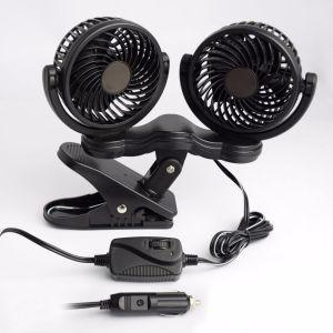 12V Car Auto ventilador Ventilador de aire auto oscilante con doble cabeza 2 Velocidades ajustables