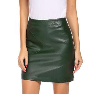 Comercio al por mayor cintura alta de la falda de cuero de imitación de la mujer
